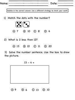 Kindergarten Math Assessent 3 - Great MOY or EOY warm up