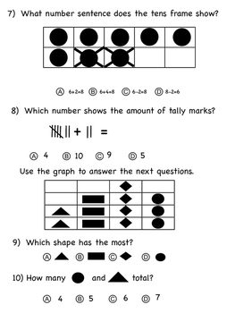 Kindergarten Math Assessent 3 - Great MOY or EOY warm up