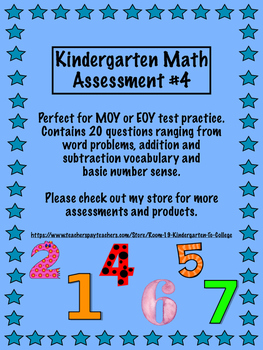 Kindergarten and 1st grade Math Assessent 4 - Great BOY, MOY or EOY