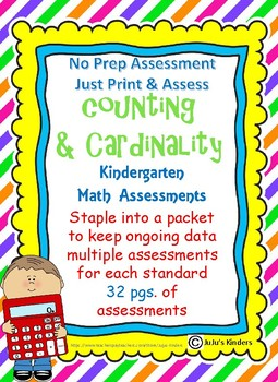 Kindergarten Math Assessment Counting and Cardinality