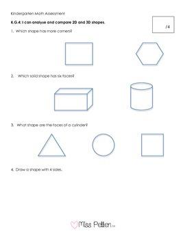 Kindergarten Math Assessment, Geometry CCSS