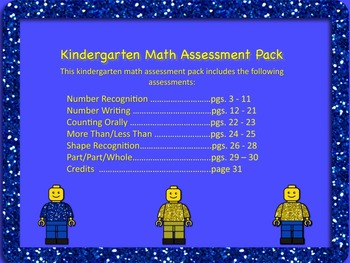 Kindergarten Math Assessment Pack - Back to School and Use All Year Long!