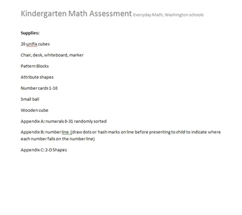 Kindergarten Math Assessment --aligned with WA state standards
