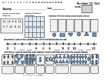 Kindergarten Math Assessment for Numbers 11-14