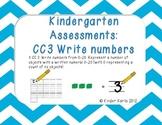 Kindergarten Math Assessments: CC3 Write Numbers