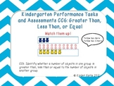 Kindergarten Math Assessments: CC6 Greater Than, Less Than, Equal Sets