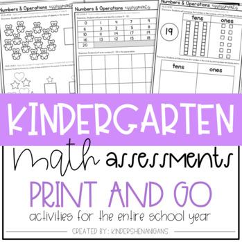 Kindergarten Math Assessments Tracking Sheets