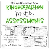 Kindergarten Math Assessments and Checklists