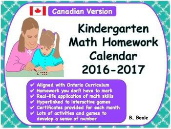 Kindergarten Math At Home Activities - Canadian Calendar 2