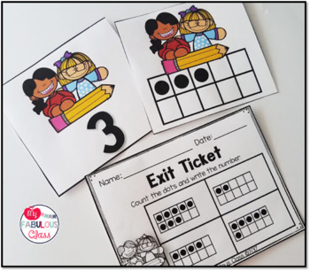 Kindergarten Back to School Math Centers, Printables, Exit Tickets