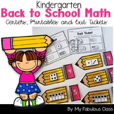 Kindergarten Back to School Math Centers, Printables, Exit