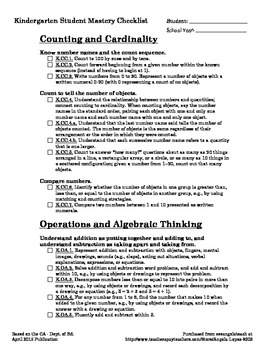 Kindergarten Math CCSS + CA Student Mastery Checklist