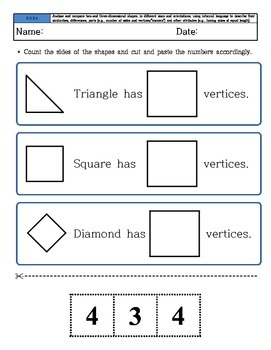 Kindergarten Math - Common Core - Geometry - Cutting and Paste