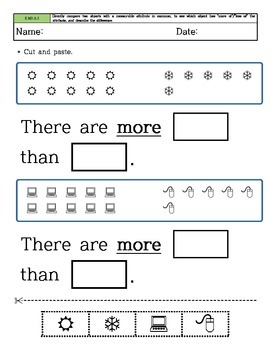 Kindergarten Math - Common Core - Measurement and Data - Cutting and Paste