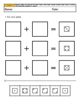Kindergarten Math - Common Core - Operations & Algebraic Thinking - Cut & Paste