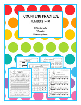 Kindergarten Math Cardinality & Counting Practice Numbers 1 - 10