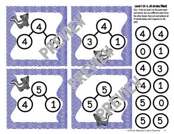 Kindergarten / First Grade Math Center Game - Stinky Number Bonds!