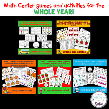 Kindergarten Math Center Games and Activities Bundle