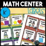 Kindergarten Math Center Labels