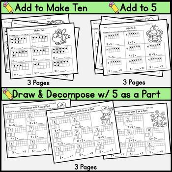 Kindergarten Math Center: Module 1:  Making 5 Groups: Chicka Math: Inc. wkshts