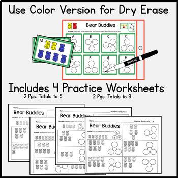 Kindergarten Math Center:  Module 4: Number Bonds:  16 cards 2 Response Sheets