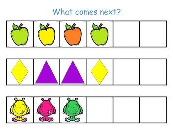 Kindergarten Math Center - Patterns - What comes next