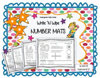 Kindergarten Math Center Number Mats 1-20