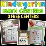 Math Centers Kindergarten Beginning of School- 3 FREE CENTERS