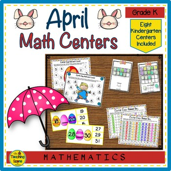 Kindergarten April Themed Math Centers:Counting, Number Order, Math Facts & More