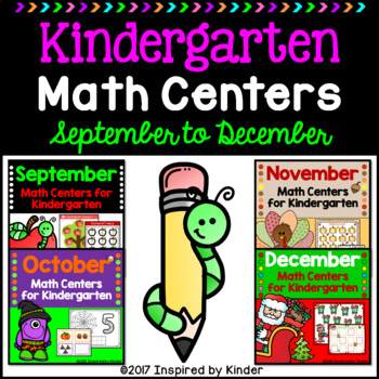 Kindergarten Math Centers Bundle {September through December}