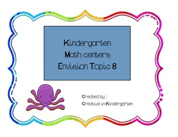 Kindergarten Math Centers Envision Math Centers Topic 8