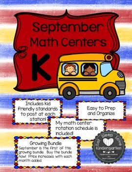 Kindergarten Math Centers Made Easy-September Bundle