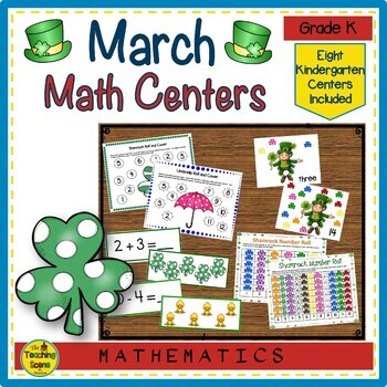 Kindergarten March Themed Math Centers: Counting, Number Order, Facts & More