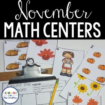 Kindergarten Math Centers November