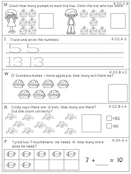 Kindergarten Math Centers, Worksheets & MORE {October}