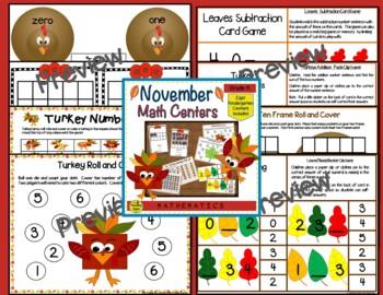 Kindergarten Monthly Math Centers Year Long Bundle