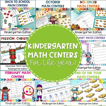 Kindergarten Math Centers Bundled for the Whole Year!