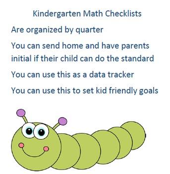 Kindergarten Math Checklists