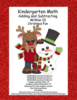 Kindergarten Math -Christmas Theme -Supports 3 CCSS's