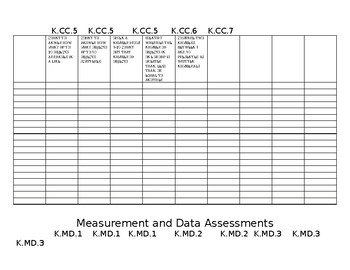 Kindergarten Math Common Core Assessment Recording Sheet