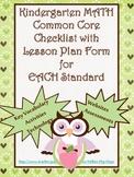 Kindergarten Math Common Core Checklist - Lesson Planning Form