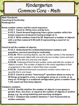 Kindergarten Math Common Core Checklist - Lesson Planning Form