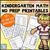 Math Worksheets Cut and Paste Kindergarten with BOOM CARDS