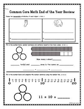 Kindergarten Math Common Core End of the Year Assessment