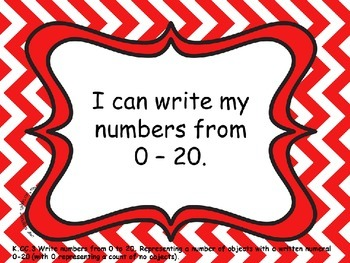 "Kindergarten Math Common Core ""I Can"" Posters - Chevron"