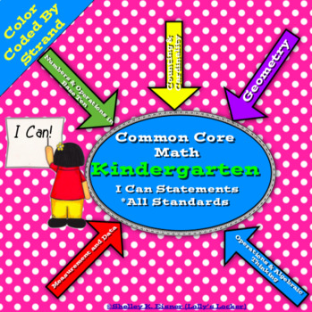 Kindergarten Math Common Core I Can Statements
