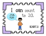 Kindergarten Math Common Core- I Can Statements Wall Set