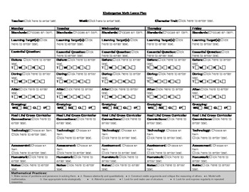 Kindergarten Math Common Core Lesson Plan
