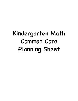 Kindergarten Math Common Core Planning Sheet