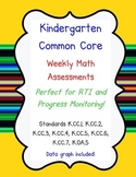 Kindergarten Math Common Core Progress Monitoring RTI Asse